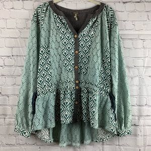 GIMMICKS BY BKE Peasant Top Mint Lace High Low EUC